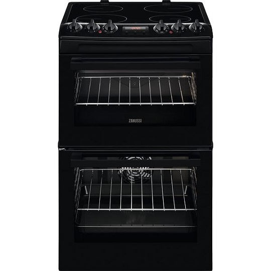 Zanussi ZCV46250BA Black 55cm Electric Double Oven Cooker