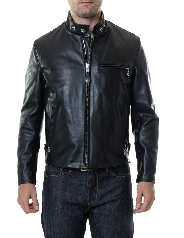 Schott Classic Racer Leather Motorcycle Jacket in Black