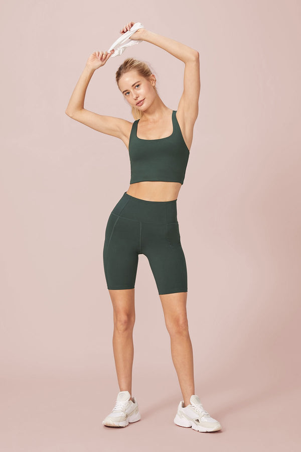GIRLFRIEND COLLECTION High-Rise Bike Short - Moss