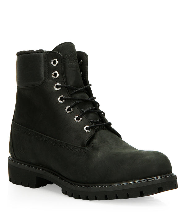 Timberland Men's 6-inch Premium Waterproof Warm Lined Boots in Black Nubuck