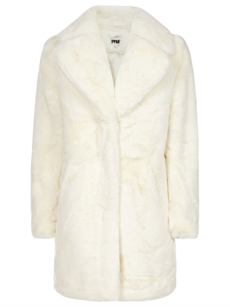 Apparis Sasha Oversize Faux Fur Jacket in Ivory