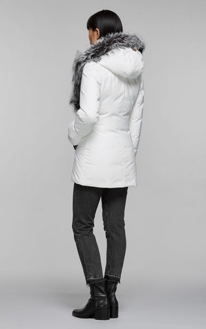 Mackage Adali-PX fitted hip length down jacket with silverfox fur in Off White - BOUTIQUE TAG