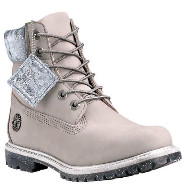 Timberland Women's 6-inch Velvet Collar Waterproof Boots in Grey Nubuck