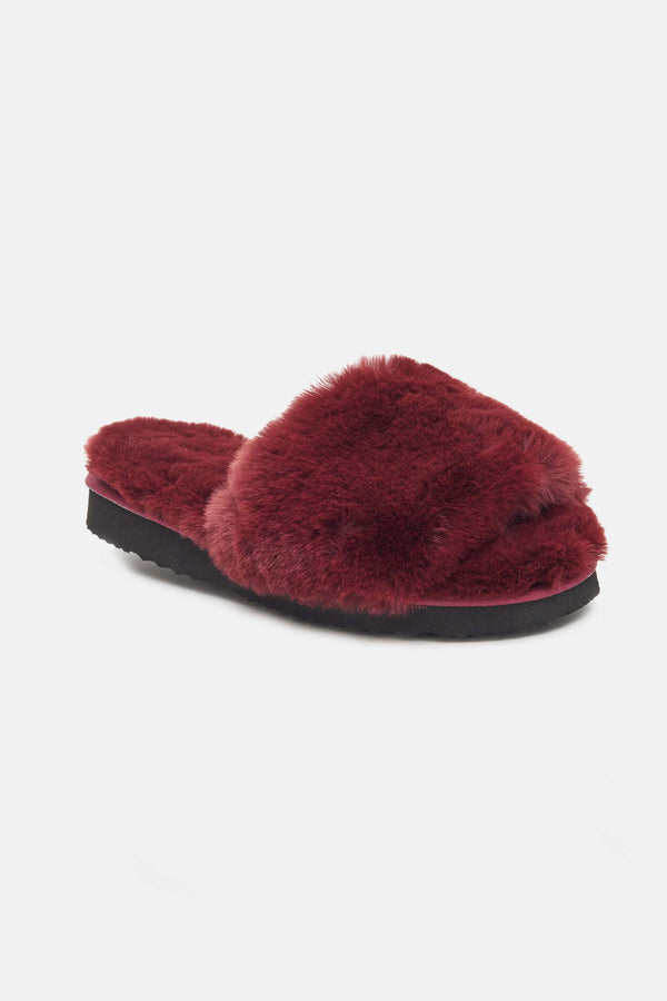 Apparis Jasmine Faux Fur Slippers in Burgundy