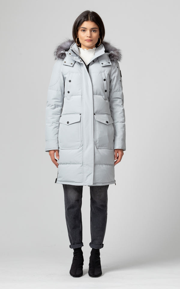 Moose Knuckles Women's Causapcal Parka Parka in Gray Birch