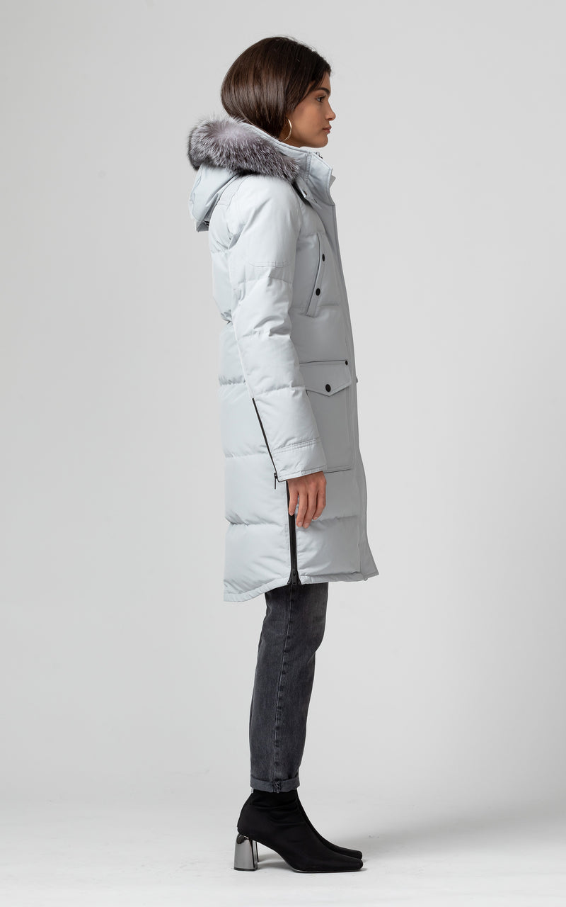 Moose Knuckles Ladies Causapcal Parka Parka in Gray Birch