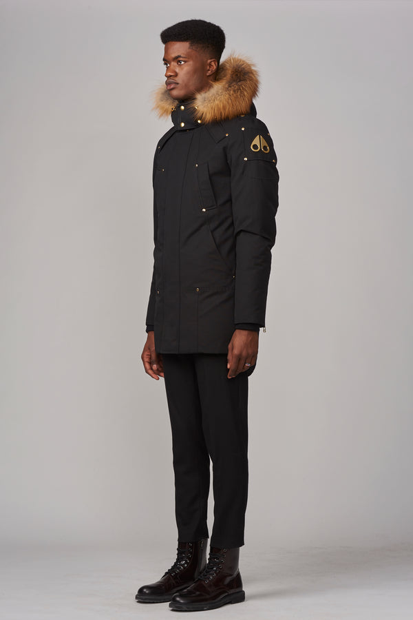 Moose Knuckles Men's Stag Lake Parka in Black with Gold Fur