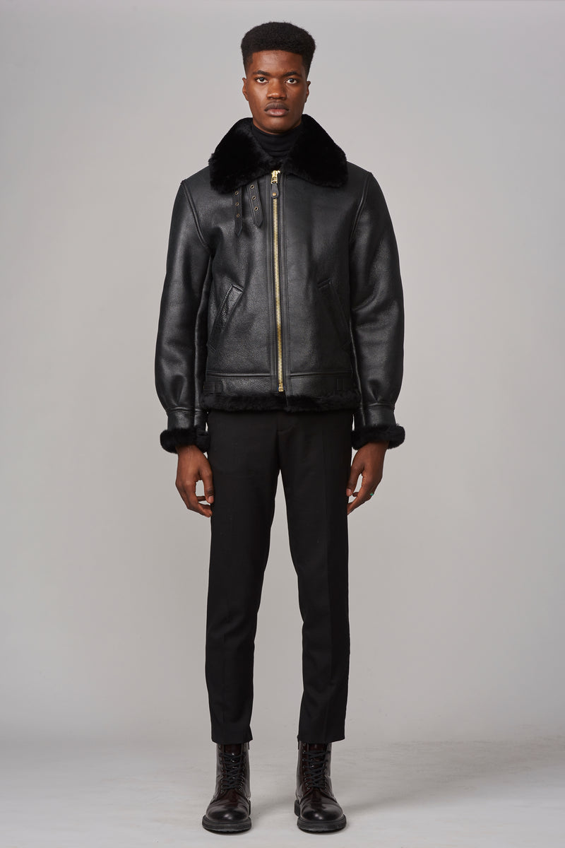 Schott Classic B-3 Sheepskin Leather Bomber Jacket in Ebony