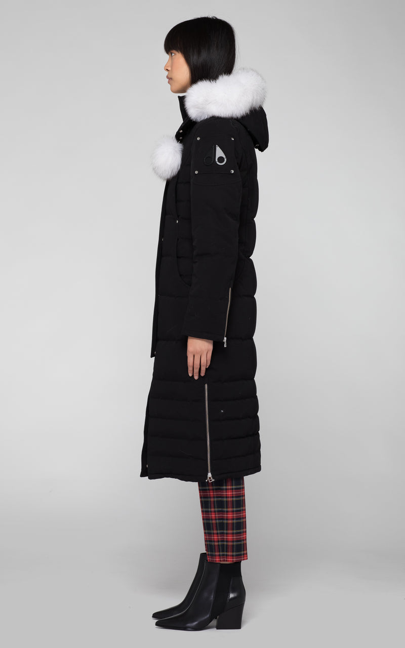 Moose Knuckles Saskatchewan Parka in Black with White Fur - BOUTIQUE TAG