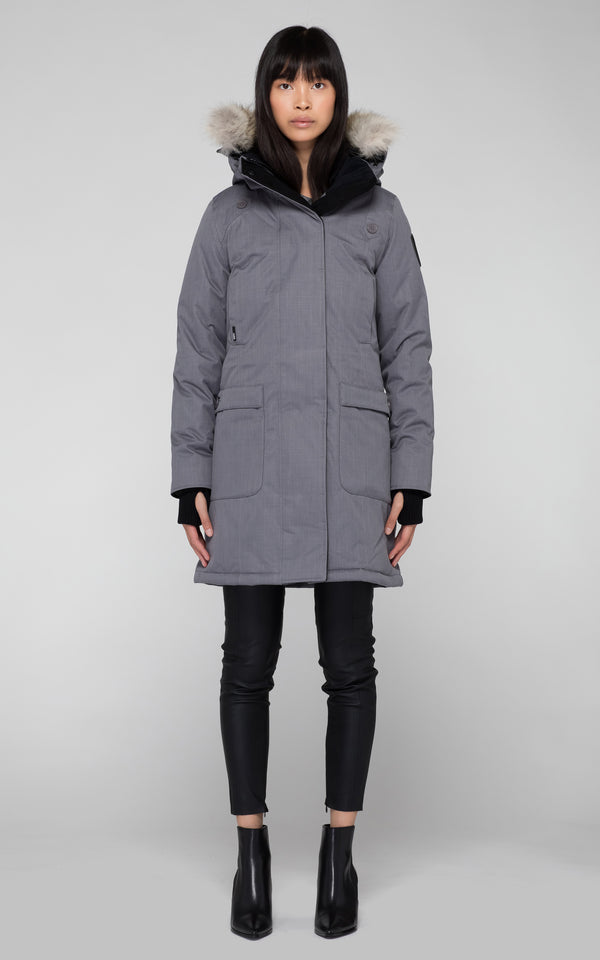 Nobis Ladies Merideth Down Parka in Concrete