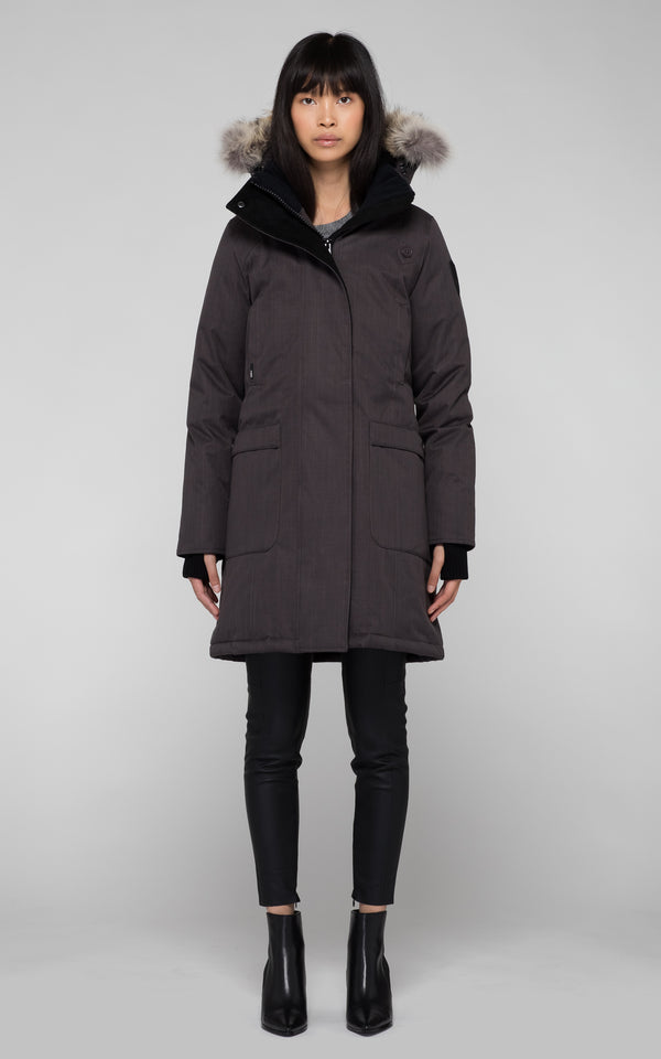 Nobis Ladies Merideth Down Parka in Steel Grey