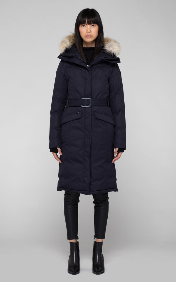 Nobis Ladies Morgan Long Down Parka in Navy