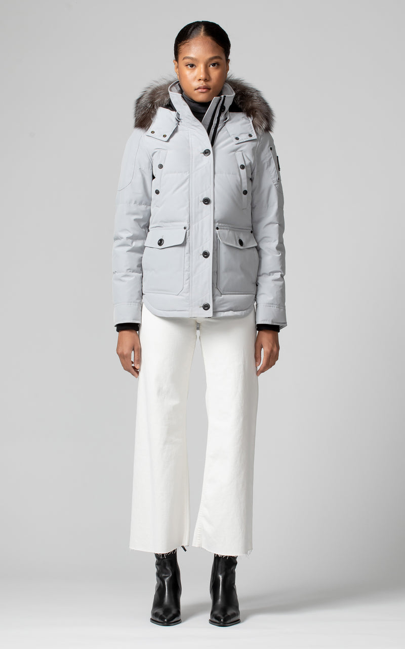 Moose Knuckles Ladies Anguille Jacket in Gray Birch