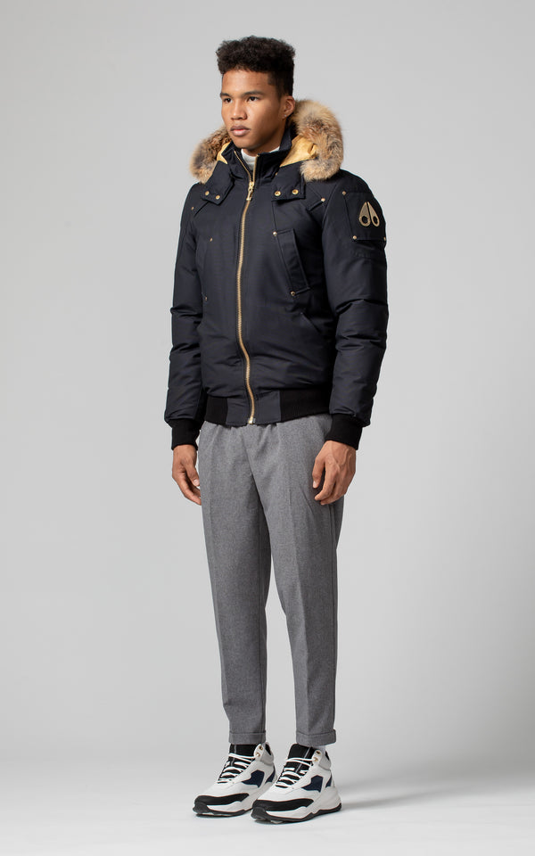 Moose Knuckles Men's Little Rapids Bomber in Navy with Gold Fox Fur