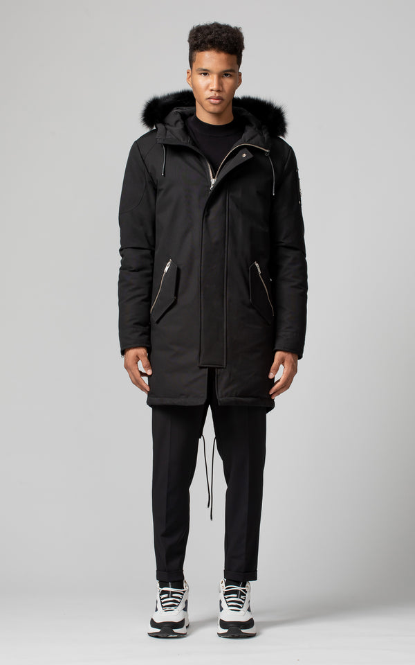 Moose Knuckles Men's Oakbank Parka in Black with Black Fur
