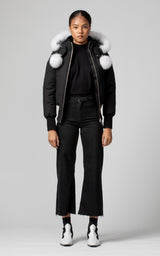 Moose Knuckles Ladies Debbie Bomber in Black with White Fur