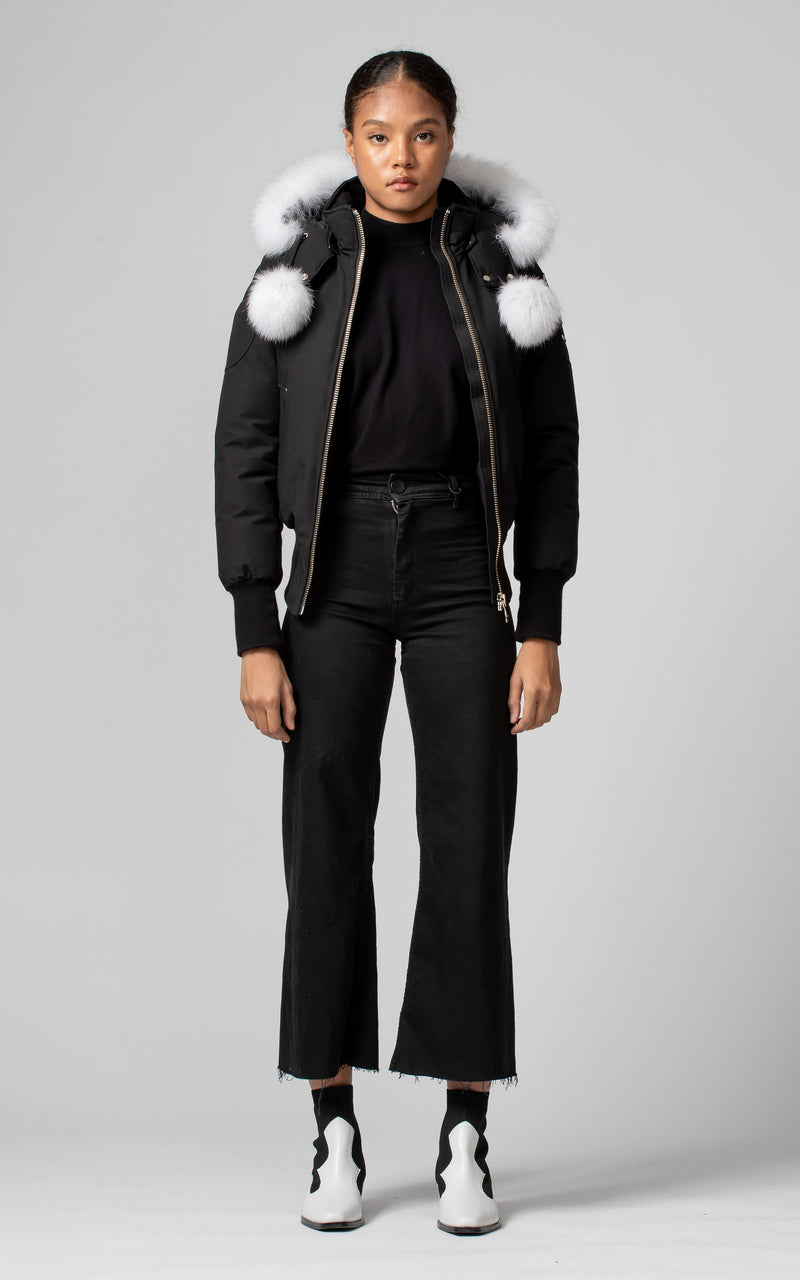 Moose Knuckles Women's Debbie Bomber in Black with White Fur