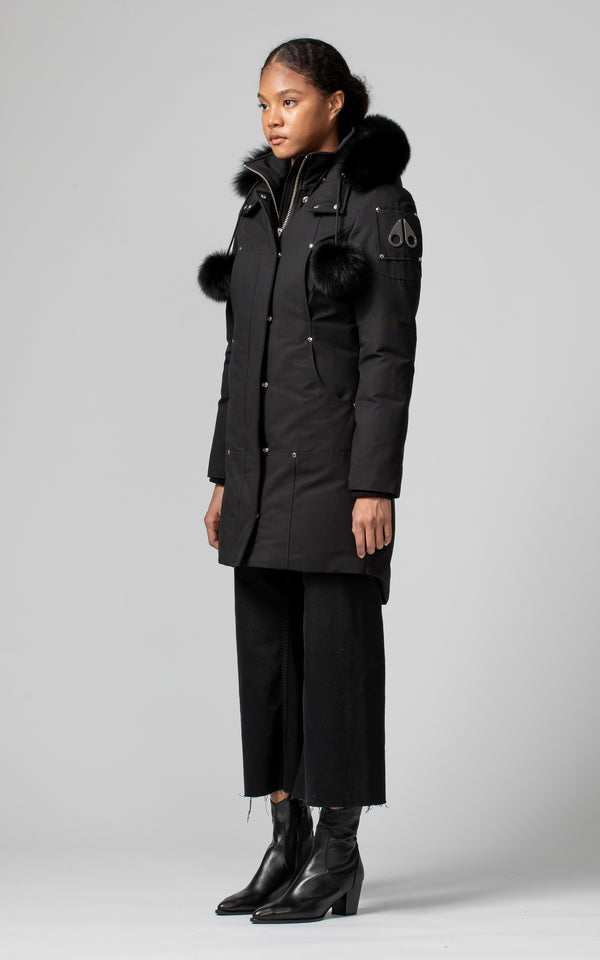 Moose Knuckles Ladies Stirling Parka in Black With Black Fur
