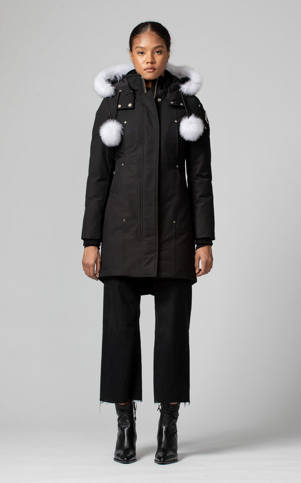 Moose Knuckles Ladies Stirling Parka in Black with White Fur