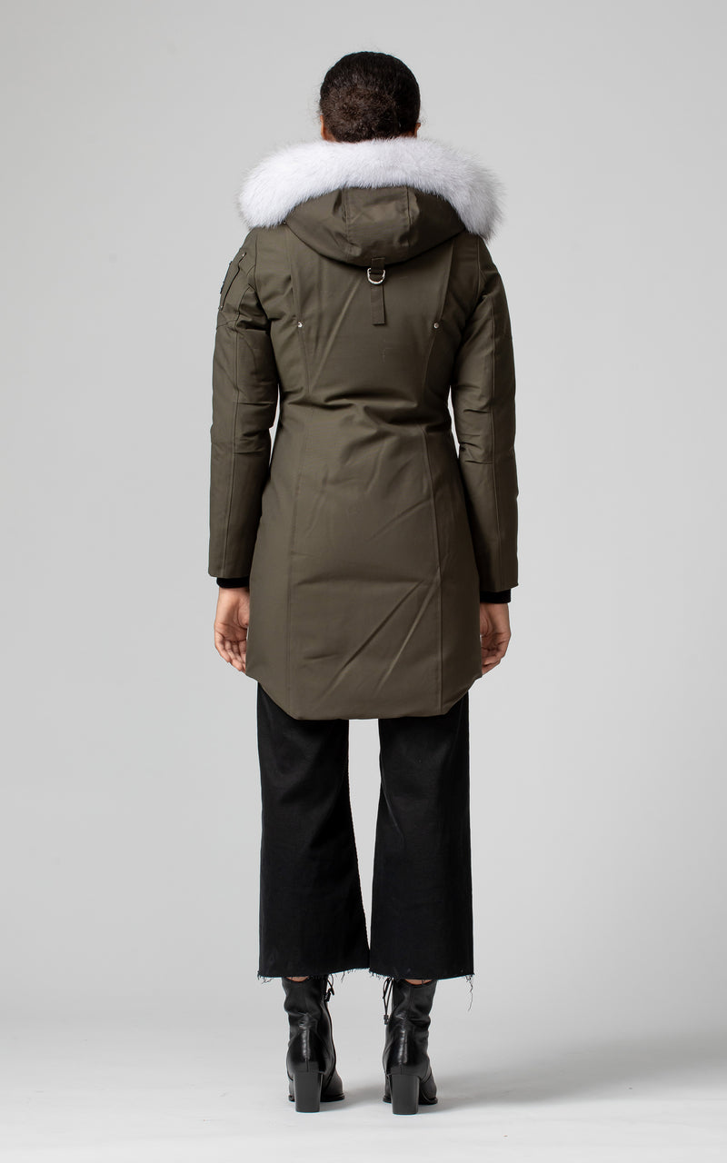 Moose Knuckles Ladies Stirling Parka in Army with Natural Fur