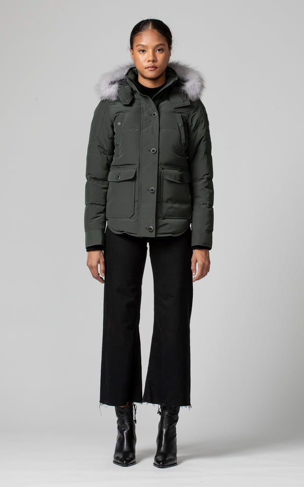 Moose Knuckles Ladies Anguille Jacket in Canadian Army
