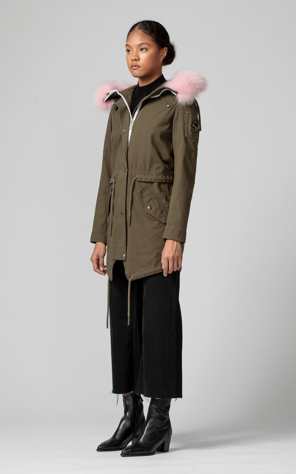 Moose Knuckles Women's Mainville Canvas Parka in Olive with Pink Fur