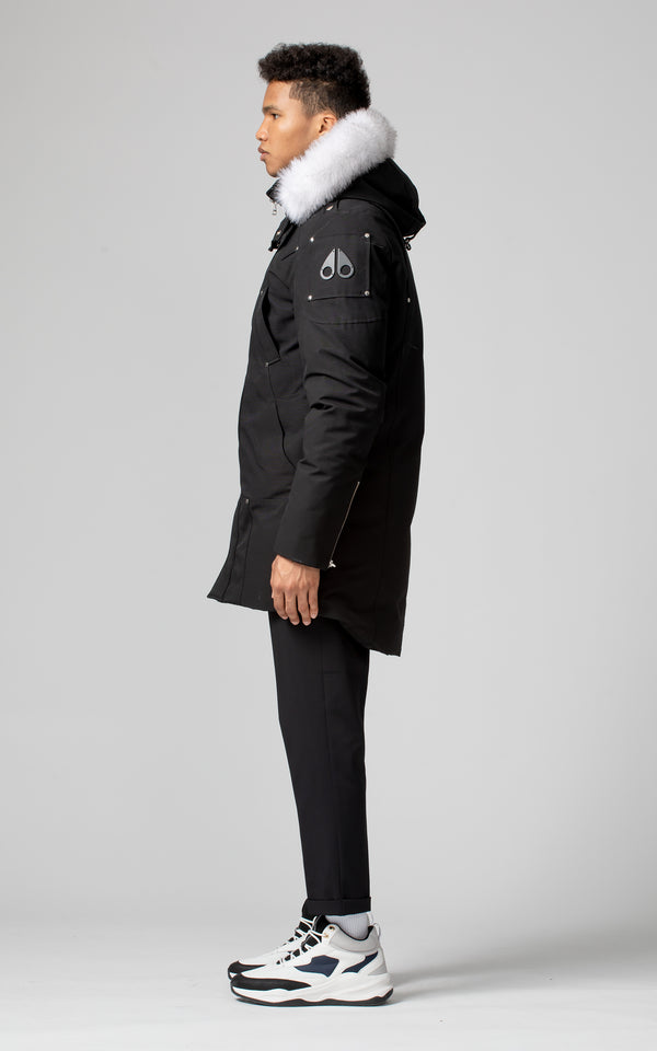 Moose Knuckles Men's Stirling Parka in Black with White Fur