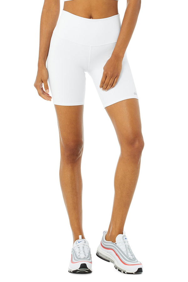 Alo Yoga High-Waist Biker Short in White