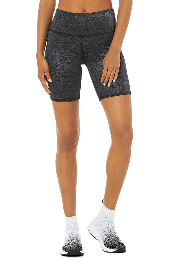 Alo Yoga High-Waist Glitter Biker Short in Black/Silver