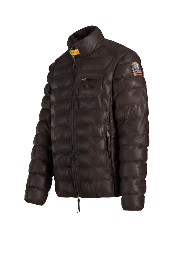 Parajumpers Ernie Leather Jacket in Dark Brown