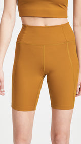 Girlfriend Collective High-Rise Bike Short in Saddle