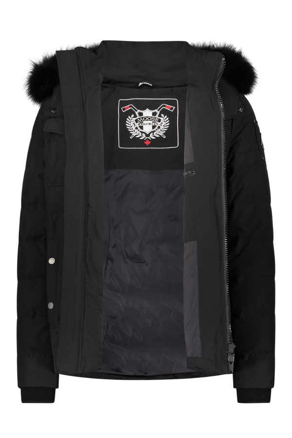 Moose Knuckles Men's Brockton Parka in Black with Black Fur