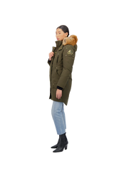 Moose Knuckles Ladies Grand Métis Parka in Army with Gold Fox Fur