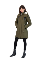 Moose Knuckles Ladies Longue Rive Parka in Army with No Fur