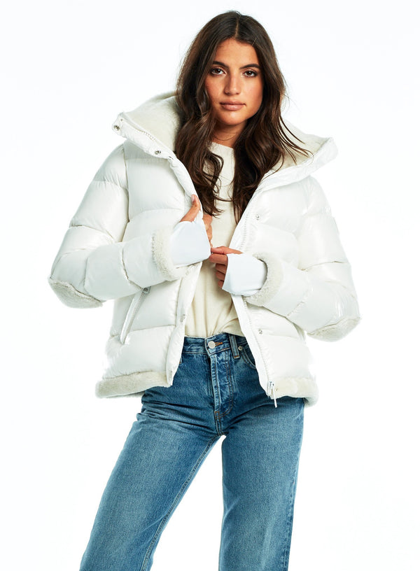 SAM. Matte Morgan Down Puffer Jacket in White Vanilla