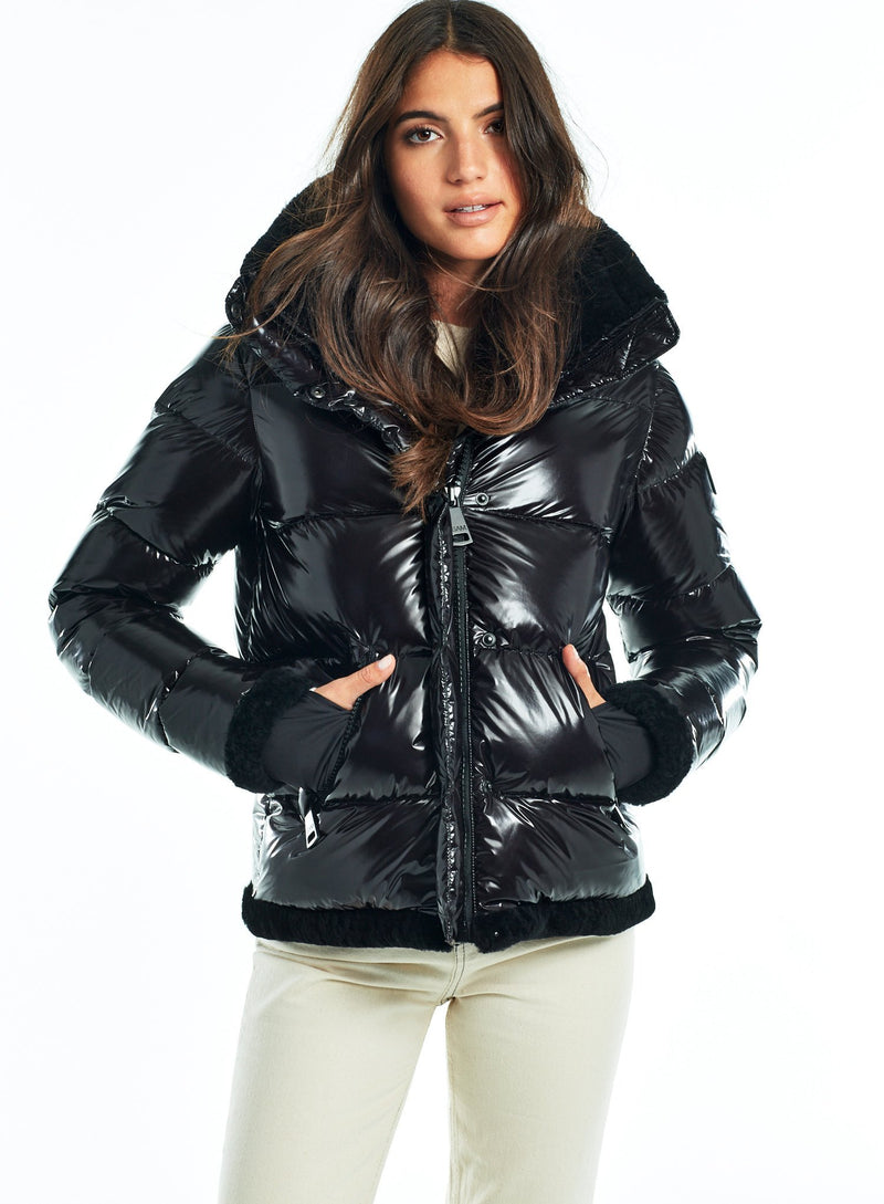 SAM. Willa Down Puffer Jacket in Black Caviar