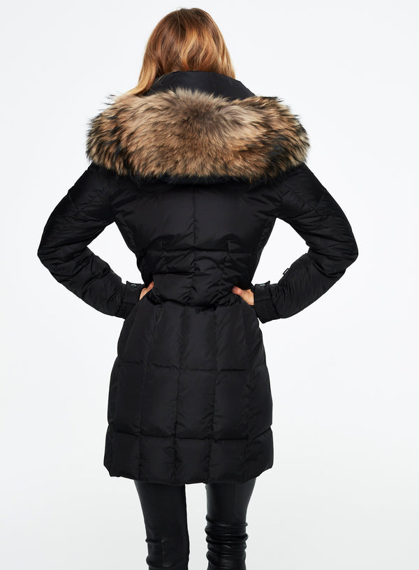 SAM. Fur Highway Coat in Black/Natural