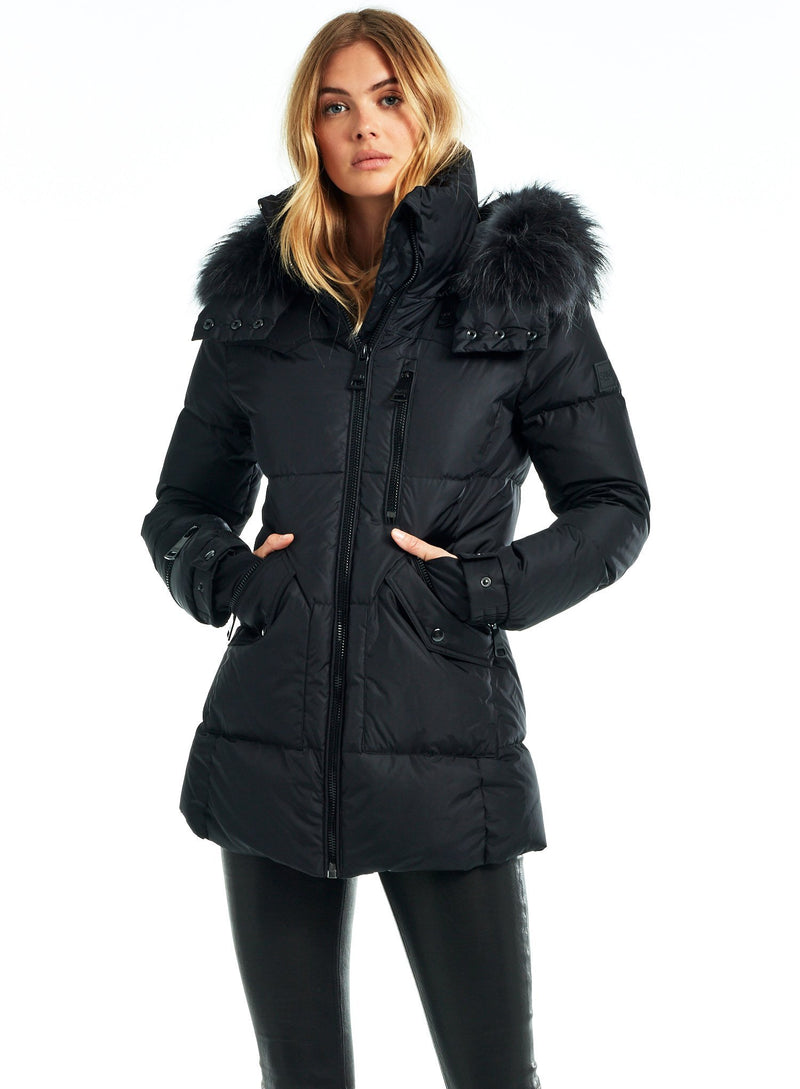 SAM. Fur Cruiser Coat in Black/Charcoal