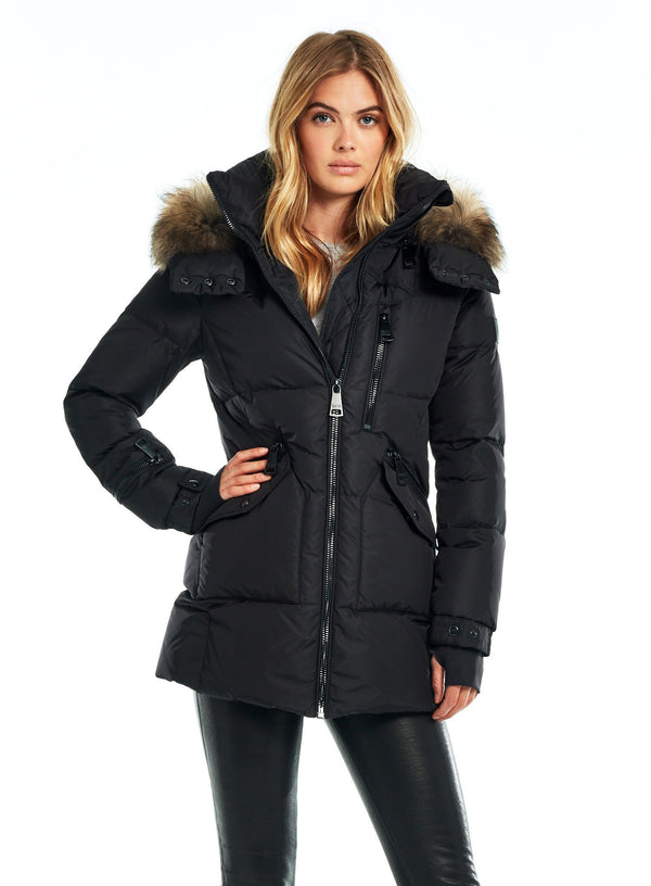 SAM. Fur Cruiser Coat in Black/Natural