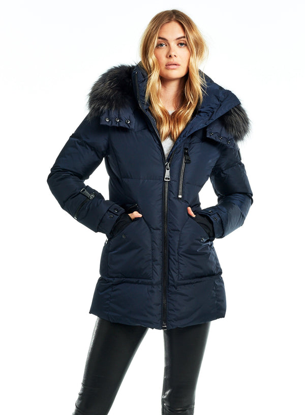 SAM. Fur Cruiser Coat in Navy/Charcoal
