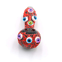 Load image into Gallery viewer, 4 inch Handmade Glow in the Dark Devil's Eye Dry Herb Pipe (Red)