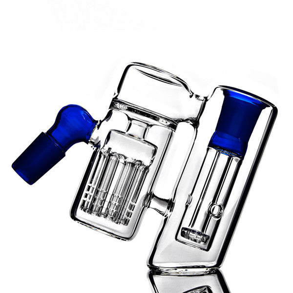 Blue double chamber two perc ashcatcher