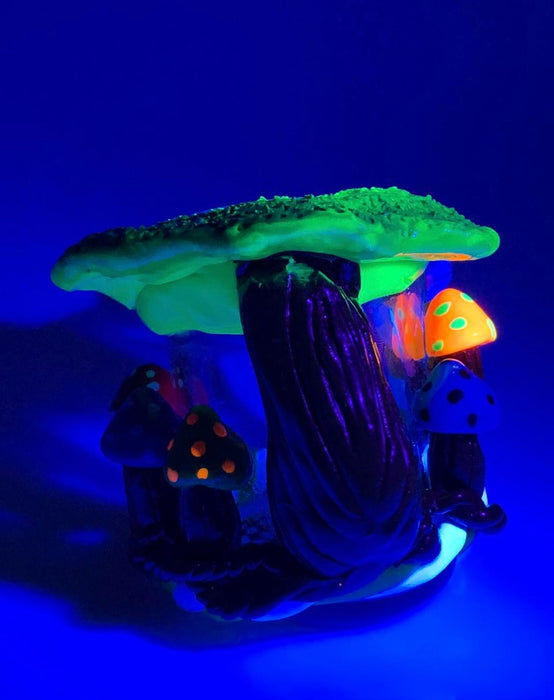 Glow in the Dark Mushroom Forest Bubbler Hand Pipe