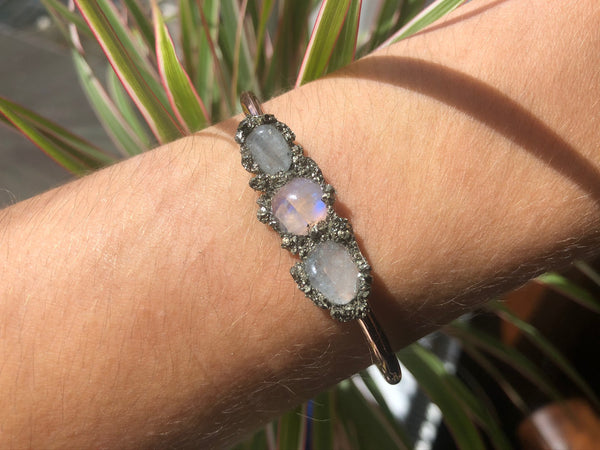 Handmade Aquamarine & Moonstone Bangle