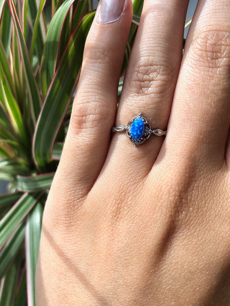Blue Opal & Cubic Zirconia Ring