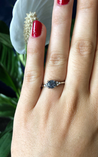 Grey Diamond & Cubic Zirconia Ring - SeekChicCo