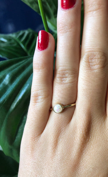 Dainty Opal Gold Ring - SeekChicCo