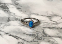 Blue Opal & Cubic Zirconia Ring - SeekChicCo