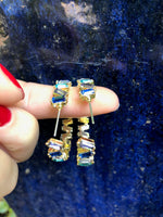 Blue Crystal Hoop Earrings - SeekChicCo