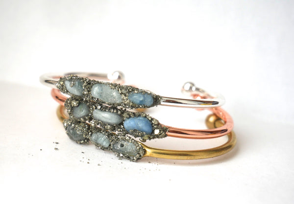 Handmade Aquamarine Bangle - SeekChicCo
